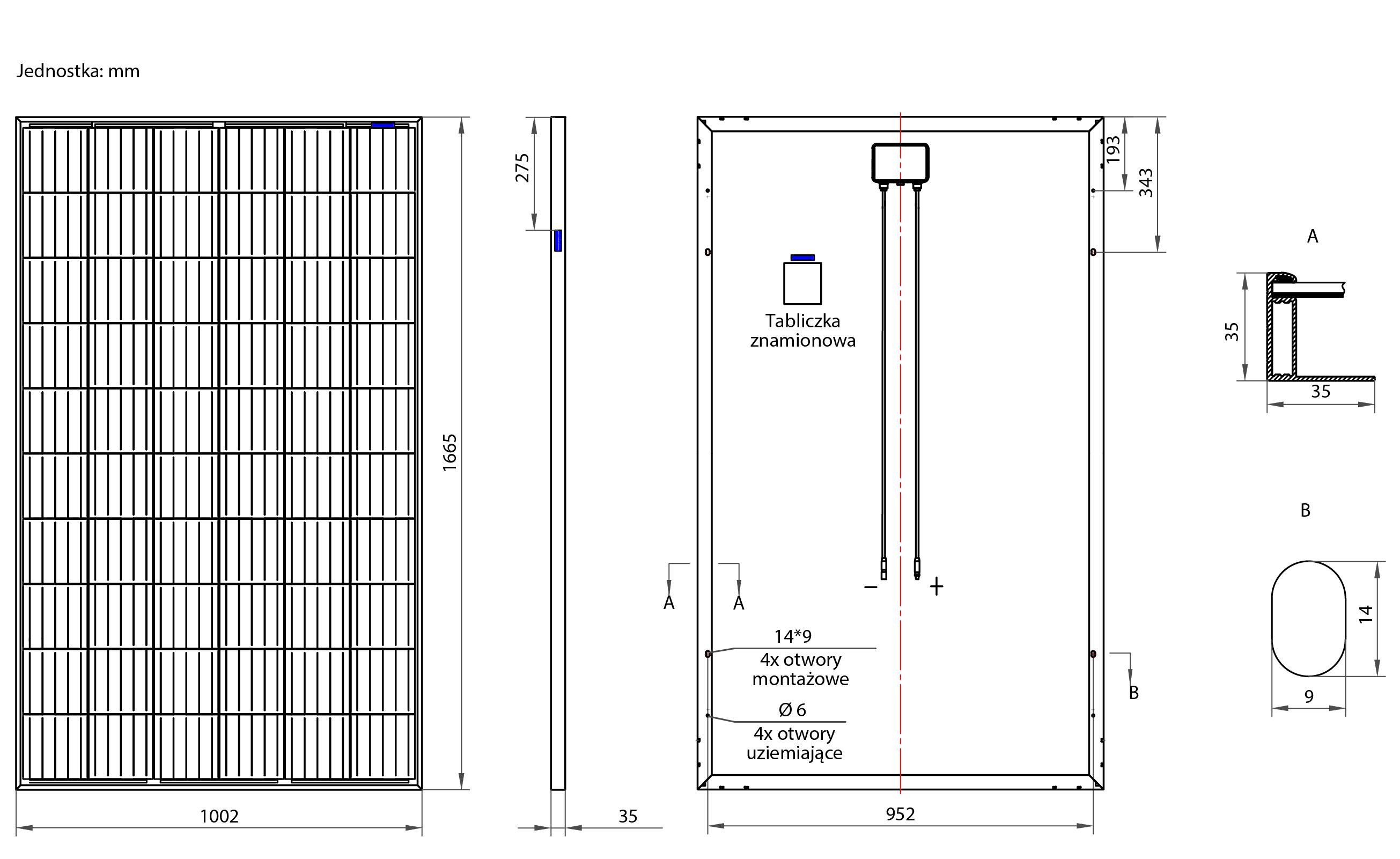 Wymiary zestawu fotowoltaicznego ON-GRID 3,2 kW